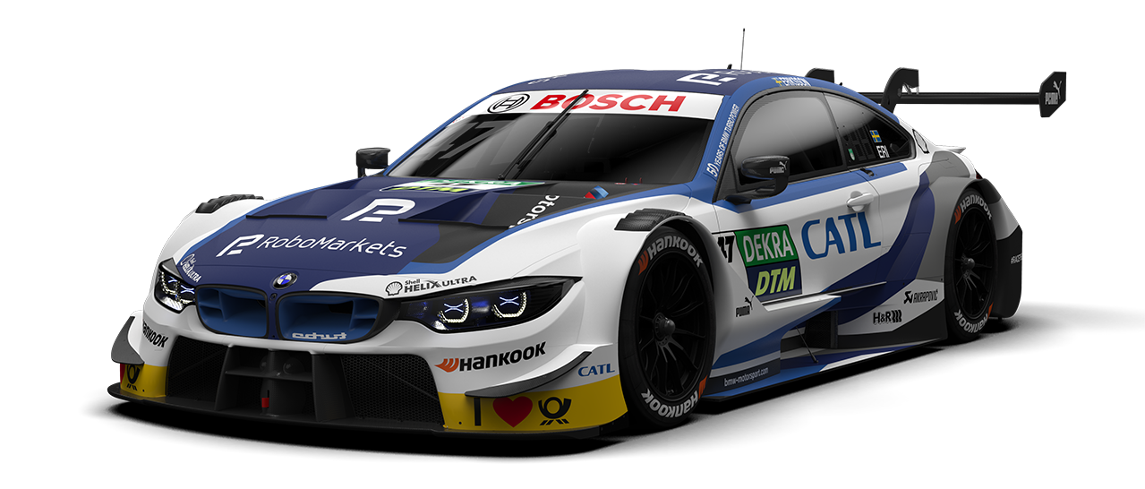 New BMW M4 DTM racing car with RoboMarkets brand appearance